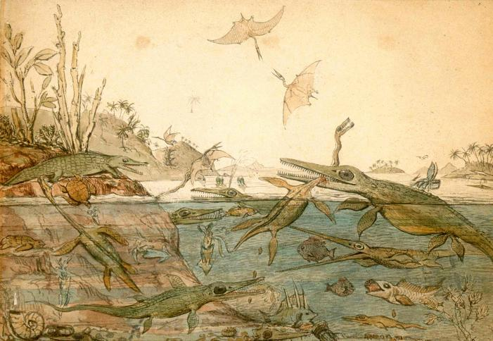 Painting of ancient Dorset sea creatures from 1830 by geologist Henry de la Beche