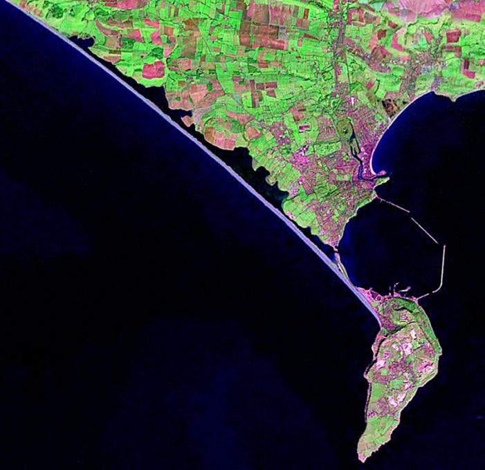Satellite Image of Chesil Bank and Portland